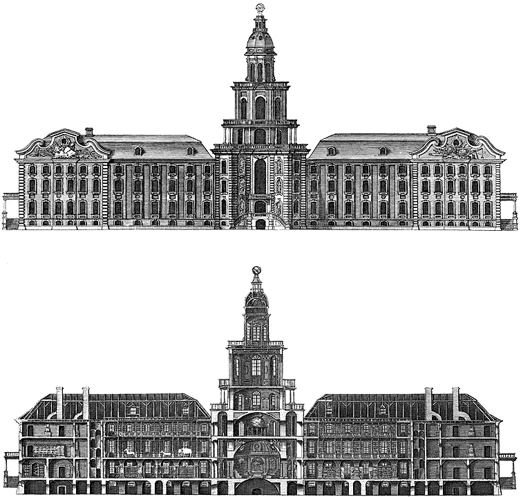 Outer façade and inner view of the Kunstkamera, first headquarters of the Saint Petersburg Academy of Sciences; engraving by Grigory Anikiyevich Kachalov, 1740